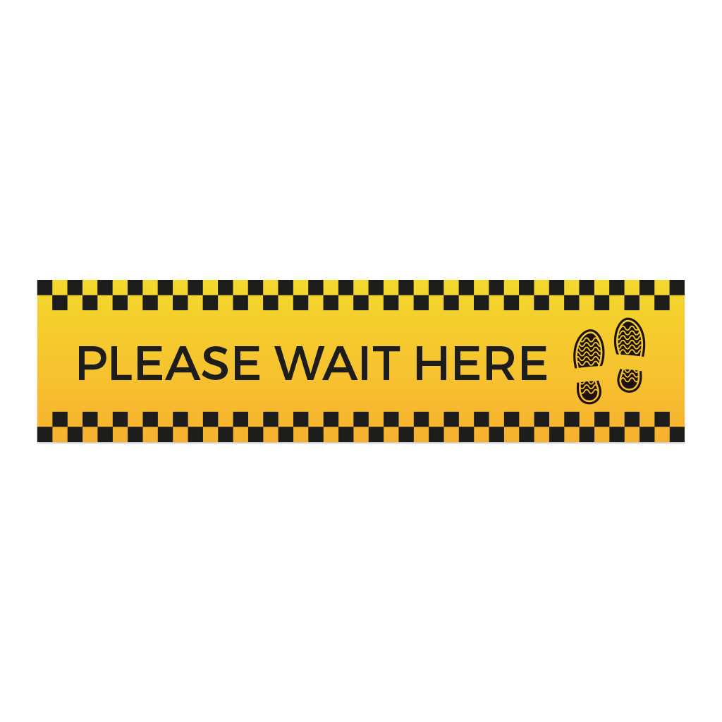 Social Distancing Floor Stickers - Wait Here Rectangle Main